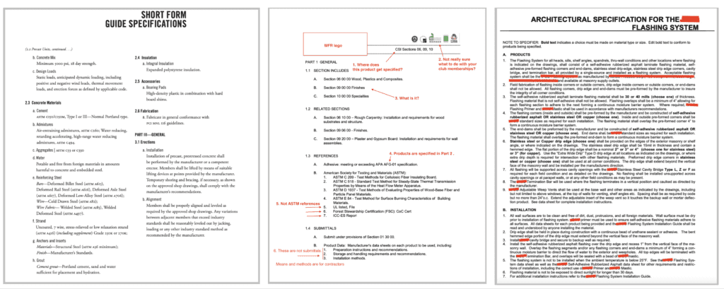 CSI specifications pitfall guide
